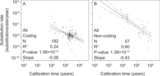 Linear regressions of log-transformed rate estimates from mitochondrial markers in a range of metazoan taxa against the log-transformed calibration times that were used to estimate the rates.Separate analyses were performed for coding markers (A) and non-coding markers (B).