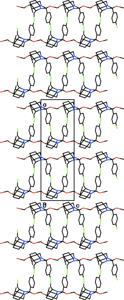 The packing of the molecules in the crystal structure. The dashed lines indicate the O—H···O hydrogen bonds and weak inter-chain C—H···Cl interactions.