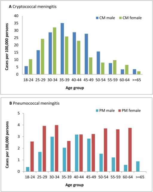 Incidence of cryptococcal meningitis and pneumococcal meningitis, by age group and gender, 2012.CM = cryptococcal meningitis, PM = pneumococcal meningitis.