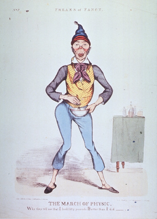 <p>A man in an awkward stance with right hip out to the left and upper torso curved to the right, his face is pockmarked, and he is holding a bowl and utensil; to the right is a table with several bottles.</p>