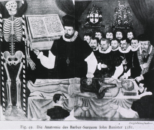 <p>Dr. John Banister delivering the &quot;visceral lecture&quot; at the Barber-Surgeons' Hall in London, 1581.</p>