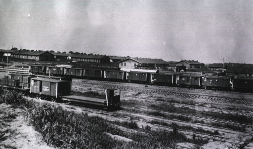 <p>A view of the Evacuation Commission Hospital behind the train depot.</p>