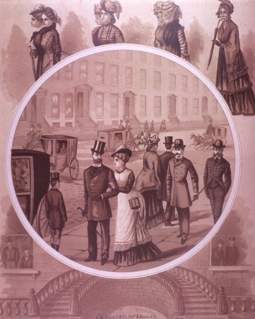 <p>People are walking on the sidewalk, horse drawn carriages are on the street, and row houses are in the background.  Women are above the circle; a circular staircase and men looking out windows are below the circle.  On the verso is an advertisement for Clyde's Lines.</p>