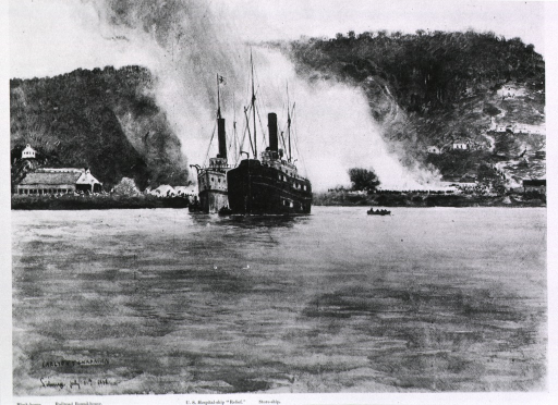 <p>Starting the blaze, Jul. 11: burning the fever-infected buildings of Siboney.  View from the water, with hospital ship Relief in foreground.</p>