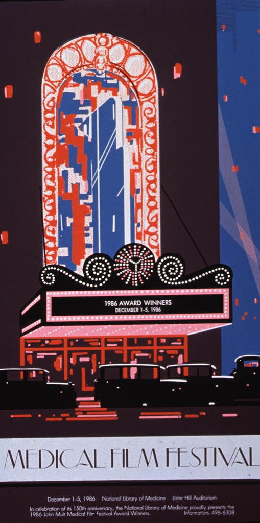 <p>Multicolor (brown, blue, black, orange, pink, white) poster featuring a theater marquee with historic automobiles in front, set against a night sky. Theater marquee reads &quot;1986 Award Winners, December 1-5, 1986.&quot;  Title appears below theatre image, with brown lettering on a polka-dot background.  Location (Lister Hill Auditorium), caption, and phone number for information appear at bottom of poster.</p>