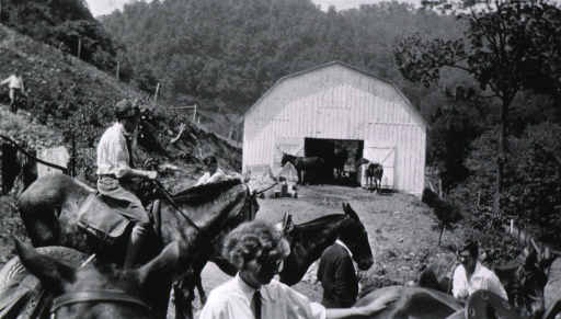 <p>Gathering of nurses outside a barn at a conference in 1928.</p>