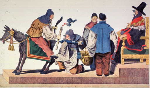 <p>Demonstrating the innate knowledge of science, a man is sitting backwards on a donkey holding its tail in one hand and a candle in the other; another man is about to administer a clyster to the donkey; two attendants stand ready with large kettles; a person is sitting on a throne observing.</p>