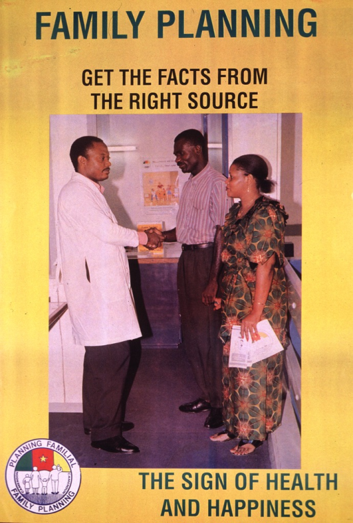 <p>Yellow poster with multicolor lettering.  Title at top of poster.  Visual image is a reproduction of a color photo showing a male-female couple consulting with a health worker.  The woman holds some brochures in one hand.  Caption and a family planning logo at bottom of poster.</p>
