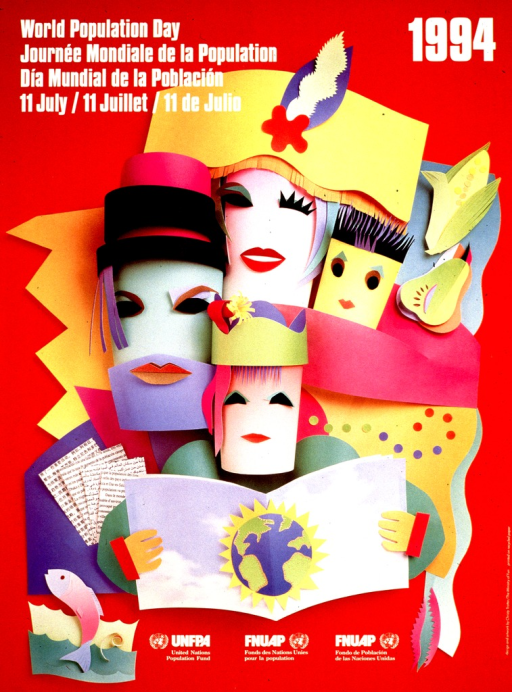 <p>Predominantly red poster with white lettering.  Title in English, French, and Spanish in upper left corner.  Visual image is a color photo reproduction of a collage.  The collage appears to be made from paper.  It features abstract faces of a four-member family, along with some foodstuffs, a book, and some documents.  Publisher information at bottom of poster.</p>