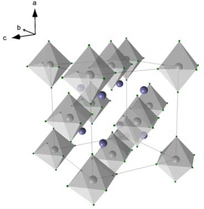 Crystal unit cell of Mg2FeH6; Mg-atoms are shown in blue, Fe-atoms are located in the centers of the octahedrons.