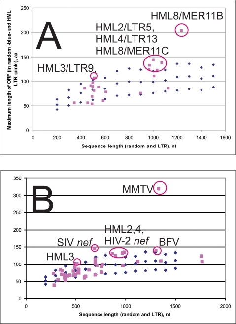 Plot of the longest ORF detected in LTRs selected from all seven retroviral genera.ORFs longer than 97 amino acids were detected in MMTV sag, primate lentiviral nef, Bovine Foamy virus (BFV), and HML2,3,4 and 8 consensus LTRs. One standard deviation of the longest ORF occurring in 100 random sequences of increasing length is also shown. A. Longest ORF in RepBase consensus HML LTRs. B. Longest ORF in Clustal consensuses of alignable HML LTR groups and other LTRs (45 in total). Sequence identities and other details are given in Excel S2.