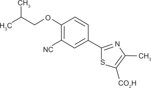 Chemical structure of febuxostat (Uloric® package insert; Takeda Pharmaceuticals America, Deerfield, IL).