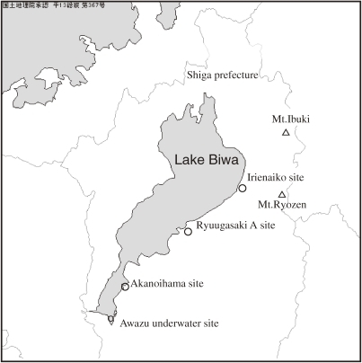 Map showing the Irienaiko archaeological site near Lake Biwa in Shiga Prefecture, Japan.
