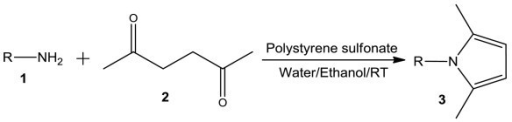 Polystyrene sulfonate-catalyzed simple synthesis of N-substituted pyrroles.