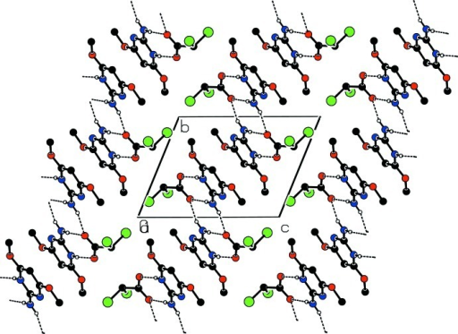 Part of the crystal structure with hydrogen bonds shown as dashed lines.