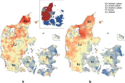 Heat maps of observed (a) and predicted (b) status ofFasciola hepaticainfection in Danish cattle herds (n = 16,626) where areas coloured in red and blue indicate hot (RR ≥ 1.0) and cold spots (RR < 1.0), respectively. The insert in Figure 2 a shows a SatScan map of significant spatial local clustering of infected (red) and non-infected (blue) herds.
