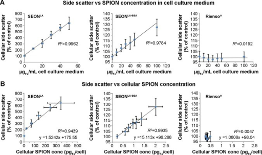 Correlation between side scatter measurements and SPION-loads. HUVECs were cultured for 48 hours in medium containing 0–100 µgFe/mL SPIONs.Notes: (A) Correlation of the side scatter and the SPION concentration within the cell culture medium. (B) Relationship between the cellular SPION-load as measured by AAS and the normalized side scatter data delivered by flow cytometry. Results were acquired with SEONLA (left panel), SEONLA-BSA (middle panel), and Rienso® (right panel). Data are expressed as the mean ± standard error (n=3 with technical triplicates). R2 represents the coefficient of determination. y describes the mathematic relationship between side scatter and cellular SPION content.Abbreviations: SPION, superparamagnetic iron oxide nanoparticle; AAS, atomic adsorption spectroscopy; HUVECs, human umbilical vein endothelial cells; SEONLA, lauric acid-coated nanoparticles; SEONLA-BSA, lauric acid/albumin bovine serum hybrid-coated nanoparticles.