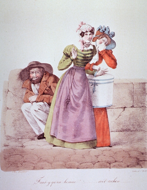 <p>Two women, one with her hand to her nose, walk away from a repulsive man crouched against a wall.</p>