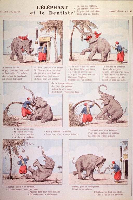 <p>An elephant with a toothache goes to the dentist.  The dentist has the elephant bend a palm tree which he secures to the ground, as well as to the elephant's tooth.  He releases the tree, which springs upright extracting the tooth in the process.</p>