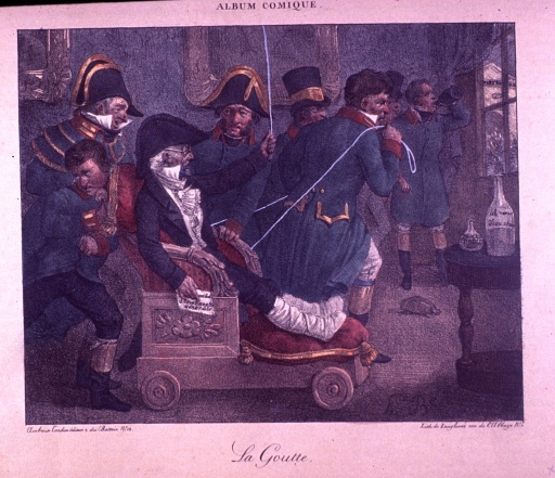 <p>A man with bound legs, in napoleonic dress, is sitting in a cushioned chair with wheels holding a paper that partially reads: general recipe.  One man is pulling while another man is pushing the chair.  A turtle is on the floor.  A fourth man is standing by the window drinking out of a bottle.</p>