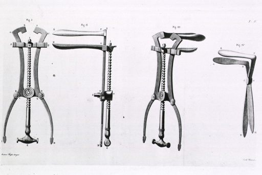<p>View from different angles of a speculum with a screw mechanism.</p>