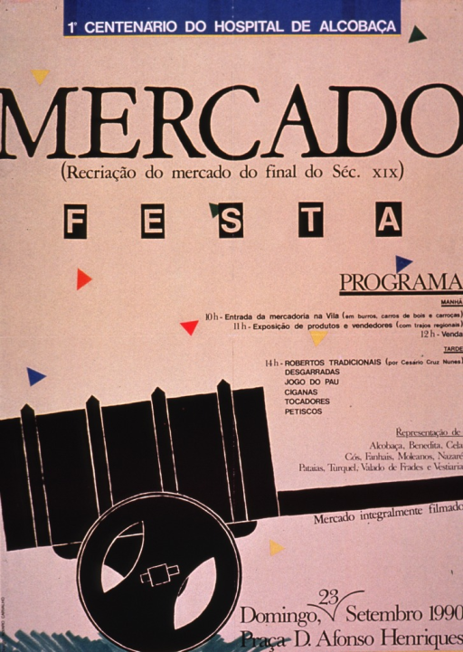 <p>Predominantly tan poster with black and white lettering.  Note at top of poster announces the centennial for the Hospital of Alcobacʹa, a town in west-central Portugal.  Title below note.  Program details on right side of poster.  Visual image is an illustration of a cart.</p>