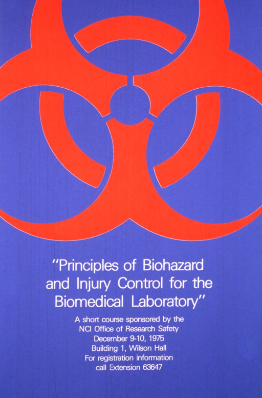 <p>Blue poster with a large orange biohazard symbol.  The print is in white and occupies the lower third of the poster.</p>