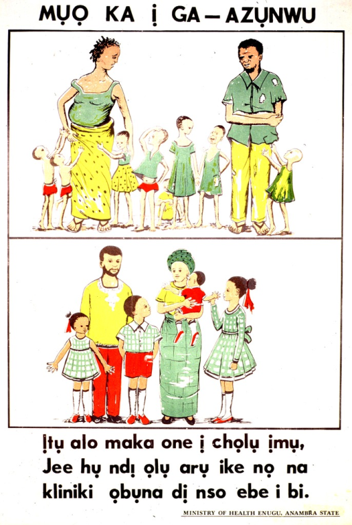 <p>White poster with black lettering.  Title at top of poster.  Visual image consists of two color illustrations.  A ten-member family appears near the top of the poster.  The mother is pregnant and all members wear tattered clothes.  A prosperous six-member family appears below.  Caption below illustrations.  Publisher information in lower right corner.</p>