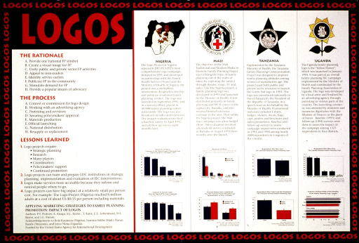 <p>Multicolor poster with red and black lettering.  Title in upper left corner.  Visual images are family planning logos from Nigeria, Mali, Tanzania, and Uganda, as well as graphs depicting public recognition of the logos.  Text explains campaigns associated with the logo programs and highlights lessons learned from the campaigns.  Citation in lower right corner.</p>