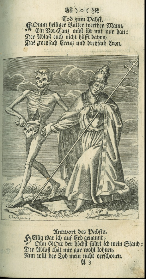 <p>A page from Todten-Tanz / Danse des Morts [1744], Death dances with the pope.</p>