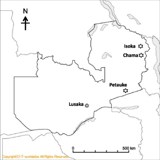 Map of Zambia showing location of Isoka, Chama and Petauke districts