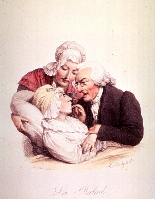 <p>A young woman is being supported in a seated position by a woman while a physician is examining her tongue and throat; he holds her hand as though checking her pulse.</p>