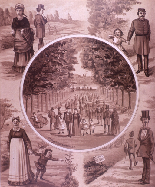 <p>A view of a tree lined walkway filled with people ends at the water is within a circle in the center of the picture; a park scene with people is in each corner of the picture.  On the verso are advertisements for Brewster &amp; Co., Valentine &amp; Co., R.M Stivers pleasure carriages, and Chas. C. Reed &amp; Co.</p>