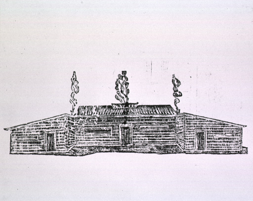 <p>Design for a military hospital based on Indian hut, by James Tilton, as printed in his Economical observations on military hospitals, Wilmington, 1813.  Exterior view.</p>
