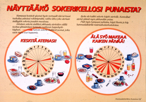 <p>Yellow poster with orange and black lettering.  Title at top of poster.  Text below title appears to deal with the relationship between eating and blood sugar.  The notes serve as titles for two color images.  &quot;Keskita ateriasi,&quot; or &quot;eat regular meals&quot; appears above a circle divided into 24 segments surrounded by three balanced meals and two snacks.  The circle shows five short periods in red when glucose levels may be unstable.  &quot;Ala syo makeaa kaiken paivaa,&quot; or &quot;don't eat sweet things all day long&quot; appears above a similar circle surrounded three meals with higher sugar content, some candy, and two sodas.  This circle shows twelve &quot;red zones&quot; for glucose.  Publisher information in lower right corner.</p>