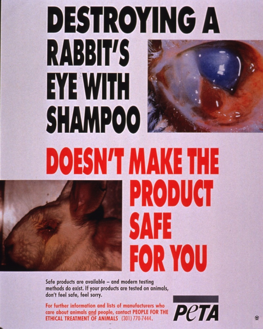 <p>Predominantly white poster with black and red lettering.  Title and two color photo reproductions dominate poster.  Photos show a close-up of an eye that is red and ulcerated and a side view of a rabbit's face, placing the eye in context and showing additional damage to surrounding tissue.  Caption and publisher information at bottom of poster.</p>