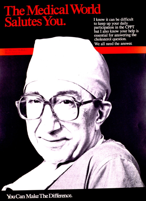 <p>Black and white picture of Dr. Michael DeBakey from the shoulders up, dressed in surgical scrubs.  Title and band across the poster identifying Dr. DeBakey as a heart surgeon are in red.</p>