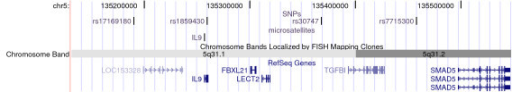Markers and genes in the region around IL9 marker. Included are base pair position according to UCSC built 35, May 2004, chromosome band, gene and the genotyped SNPs and microsatellite markers within the region.