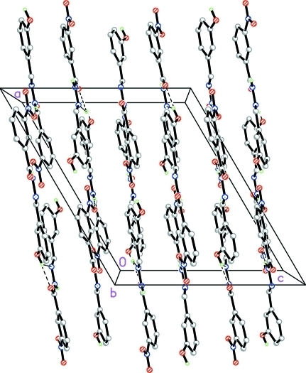Crystal packing of the title compound, viewed down the b axis. Intermolecular interactions are drawn as dashed lines.