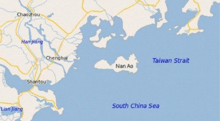 The geographical position of the locality of Nan Ao Island.
