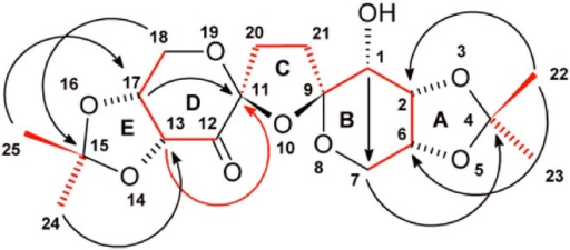 Numbering scheme for compound  14. Bonds shown in bold red were determined from the 40 Hz optimized 1,1-HD-ADEQUATE data. The correlation from C13 to the C12 carbonyl was intentionally folded to afford better F1 digitization and to minimize data acquisition times. The red arrow denotes the 2JCC=11.3 Hz correlation observed in the 1,1-HD-ADEQUATE spectrum. The black arrows denote correlations in the 2 Hz optimized LR-HSQMBC spectrum that linked the two dimethyl sprioketals to rings B and D, in addition to providing some additional cross-ring correlations, for example H7ax–C1 and H17–C11.