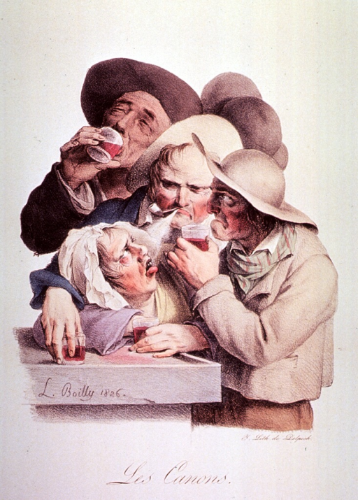 <p>Caricature of the etiquette of alcohol drinking.</p>
