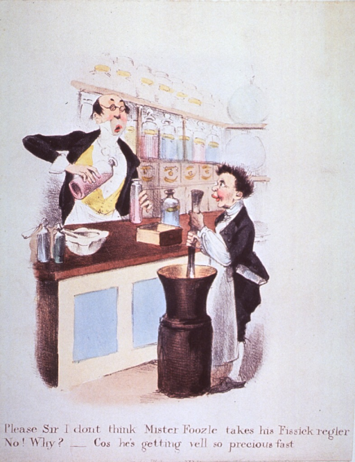 <p>Interior of pharmacy:  Pharmacist behind the counter is pouring mixture into a jar; assistant, in foreground, prepares mixture in a butter churn; a pestle and mortar and other containers shown on the counter, apothecary jars on shelves in background.</p>