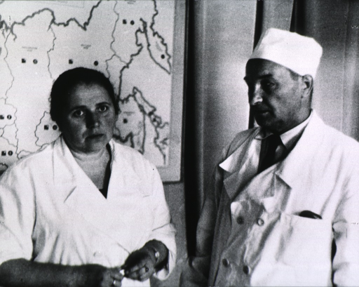 <p>Novikov, half-length, is turned to the left, Gorodilova (on the left) is turned slightly to the right, half-length, full face; there is a map on the wall behind her.</p>