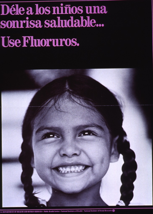 <p>Black poster with purple lettering.  Title at top of poster.  Visual image is a reproduction of a b&amp;w photo of a little girl.  The girl smiles broadly, revealing perfect teeth.  Publisher information at bottom of poster.</p>