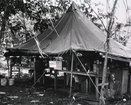 <p>Servicemen sit at tables under a tent pitched amidst vegetation.</p>