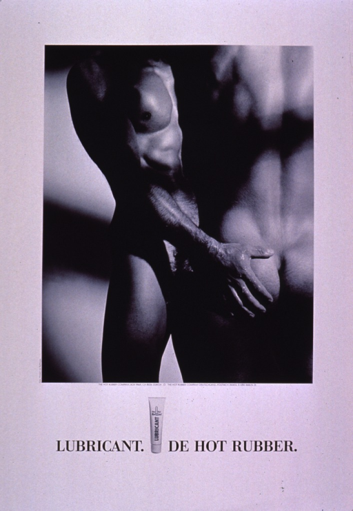 <p>Black and white poster showing a photo reproduction of a naked male-male couple embracing. The title and publishing information are at the bottom of the poster.</p>