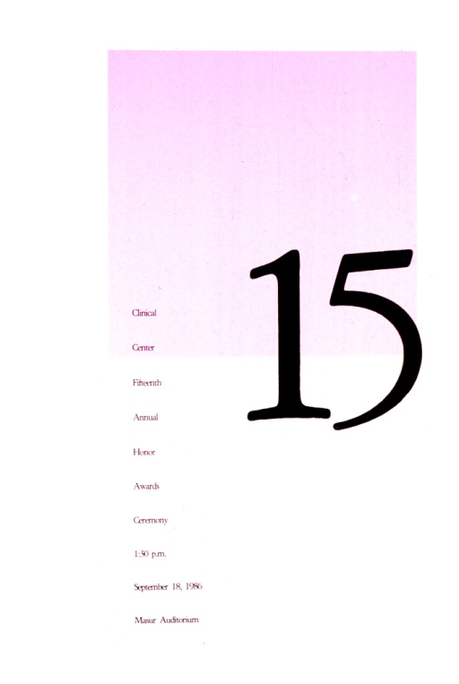 <p>A purple square on a gray background covers most of the upper half of the poster.  There is a large black 15 half in and half out of the square.  Along the right hand side, starting about half way down the poster, is the listing of the meeting along with the date, time, and place.</p>