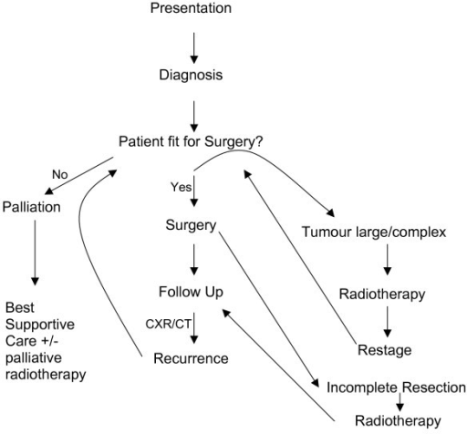 Treatment pathway for myxoid liposarcoma of the pleural cavity.