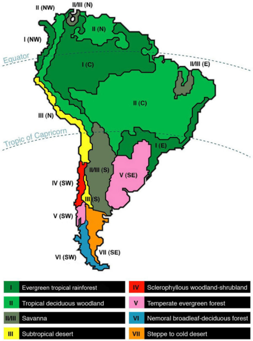 Map Of South American Climatic Dominions Modified Afte Openi - Biome map of us
